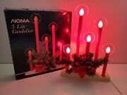Noma 5 Lite Candolier Red Vintage In Box Poinsettia Candle Complete Rare