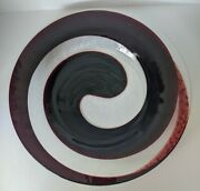 Art Glass Wall Plate Decorative Plate Red And Clear Swirl Pattern Large - 19 Inch