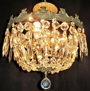 Vtg Art Deco Era French Wedding Cake Chandelier Ceiling Fixture Crystal 50and039s