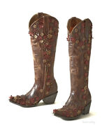 L3090-2 Old Gringo Hippie Chick Diana Brass Floral 18 Tall Leather Boot