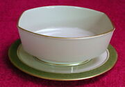 Franciscan Antique Green Gravy Bowl And Underplate Euc