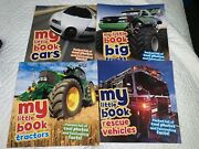 Lot Of 4 My Little Book Of Rescue Vehicles, Cars, Big Trucks And Tractors Nice
