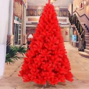Red Christmas Tree Pine Artificial New Year Holiday Decoration Festive Accessory
