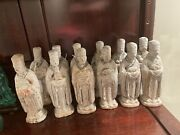 Antique Ming Dynasty Painted Pottery Statues Set Of 12 Holding 12 Zodiac 6andrdquo H