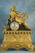 Antique French Gilded Ormolu And Patina Bronze Clock Early 1800s Superb Condition