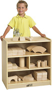 Ecr4kids Birch 24 In Small Cubby Block Storage Unit With Rolling Casters Natu...