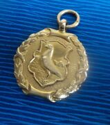 9ct Yellow Gold Pigeon Fob Medal / Pendant H/m 1922 J W Tiptaft - Not Engraved