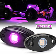 Led Rock Lights 4 Pods Purple Led Neon Underglow Light Kits Waterproof Ip68 For