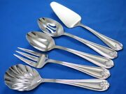 5 Reed And Barton Ribbon Crest Serving Pieces Pierced And Casserole Spoons Pie Meat