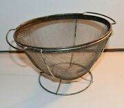 Vintage Androck Rustic Farmhouse Wire Mesh Footed Screen Strainer Colander