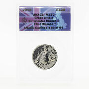 Uk Great Britain 2015 Andpound20 Pounds Sir Winston Churchill Silver Coin Anacs Ms70