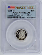 2015-w Silver Proof Roosevelt Dime Pcgs Pr70dcam 565079 From March Of Dimes Set