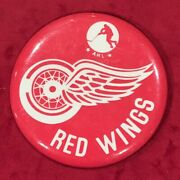 Vintage 1980's Adirondack Red Wings Ahl Hockey Team Pin Pinback Button Early Nhl