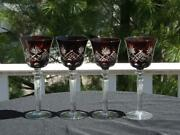 4 Nachtmann Traube Glasses Hocks Cranberry Cut To Clear Exc