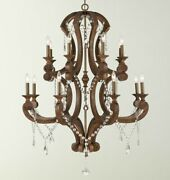 Large New Horchow Rustic French Chandelier 16lights Bronze Wood And Crystal 40in