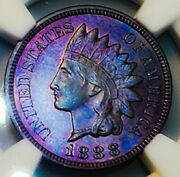 1888 Ms 63 Bn Indian Head Penny Cent Gorgeous Rainbow. 006