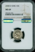 2008 D Sms Roosevelt Dime Ngc And Mac Ms 69 Finest Spotless