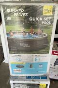 Summer Waves 14and039 X 36 Wicker Print Quick Set Ring Swimming Pool W/ Filter Pump