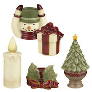 Snowman Holding Gift Candle Tree Stacking Salt And Pepper Shakers Set Three Pair