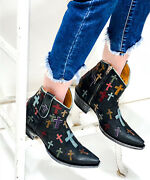 L 819-5 Old Gringo Oh My God Black 7 Ankle Leather Boots