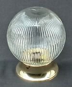 Vintage Light Fixture Brass Ceiling Round Clear Glass Globe Ribbed 6