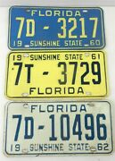 1960-1962 Florida License Single Plates - Lot Of 3 Years - Sunshine State T02c