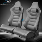 Adjustable Universal Racing Seat Pair Gray Pu And Carbon Leather And 2 Dual Sliders