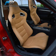Adjustable Universal Racing Seat Pair Brown Pu And Carbon Leather And 2 Dual Sliders