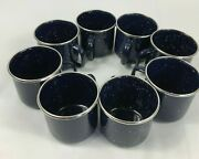 Set Of 8 Vtg Enamelware Metal Camping Cups Mugs Dark Blue Speckled Silver Trim