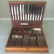 Antique Cutlery Canteen Set A1 Silver Plate J W Benson With Working Key 55-piece