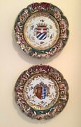 Pair Antique Capodimonte Armorial Plate-coat Of Arms, Hand Painted 9.5 Hangers