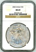 2002 1 Silver Eagle Ms69 Ngc Brown Label