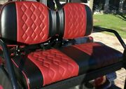 Icon Golf Car Custom Luxury Front Rear Red Yellow Silver Seat Covers 6 Passenger