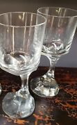Pair Of Baccarat Narcisse 7-1/4 Water Goblet Crystal Asymmetric