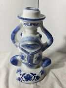 Awesome Dechang Ceramics 9 Tall Frog Candlestick Holder Blue White Great Shape