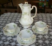 Haviland Limoges Chocolate Coffee Tea Set Pot And3 Cups And Saucers Green Roses 342