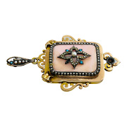 Victorian Antique 14k Gold Silver Pink Coral Pearl Turquoise Locket Pendant