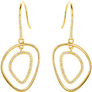 Dangle Earrings Diamond Silhouette ⅜ Ctw 14k Yellow Gold Or Sterling Silver Gold