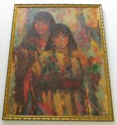 Large Fechin Style Painting Signed With Monogram Taos Corn Dancers Indian Art