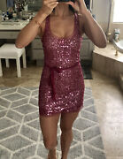 New Arden B Parchment Pink Sequin Bodycon Sheer Sexy Dress Tunic Club S Small Xs