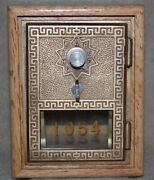 Antique Usps P O Post Office Box Door Bank With Combination