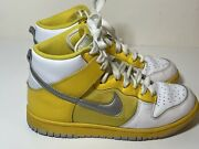 Womens Size 7 Dunk Nike High Top Basketball Yellow White Silver Vtg 318676-101andnbsp