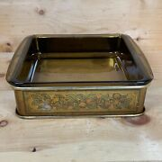 Vintage Pyrex 222 Glass Metal Carrier Holder Caddy With Anchor Hocking Brown Pan