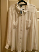 Torrid Madison White Georgette Button Front Blouse Top Size 4 4x/26 New