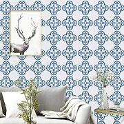17.7x118.1blue Contact Paper White And Blue Wallpaper Removable Waterproof