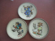 Lot 3 Vintage Goebel Mj Hummel 197219731974 Annual Collector 7-1/2andrsquoand039 Plates