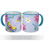 Gift Mug Colorful Butterflies Seamless Pattern Floral Leaves Wall Decor