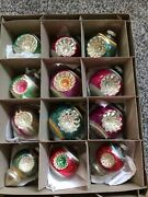 Old Vintage Shiny Brite Double Indent Glass Ornaments Mix Lot Of 12 With Box