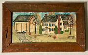Original Dolores Hackenberger Painting, Farm House Scene, Early 1980's, Framed