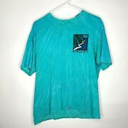 Vintage Crazy Shirts Hawaii Teal Washed Out Tie-dyed Kauai Napali T-shirt Size M